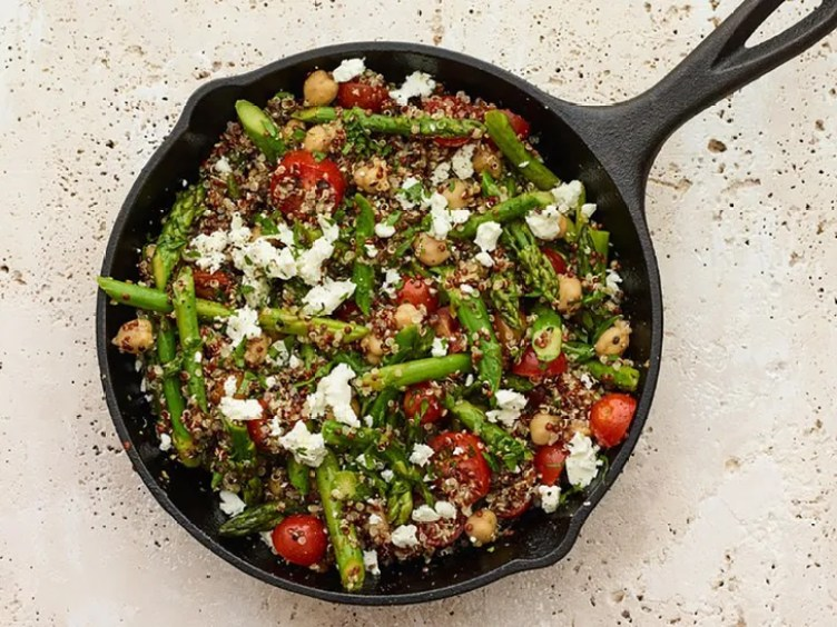Vegetable-Quinoa Skillet With Goat Cheese from SELF