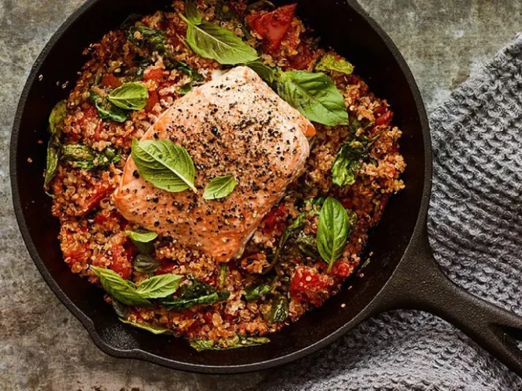 Skillet Salmon With Tomato and Quinoa from SELF