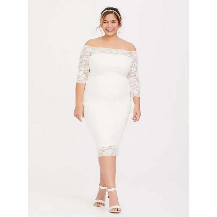 Special Occasion Ivory Lace Off-Shoulder Bodycon Dress