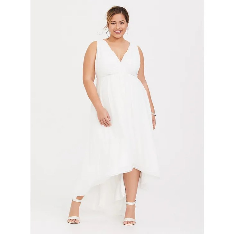 Special Occasion Ivory Chiffon Plunging High-Low Dress
