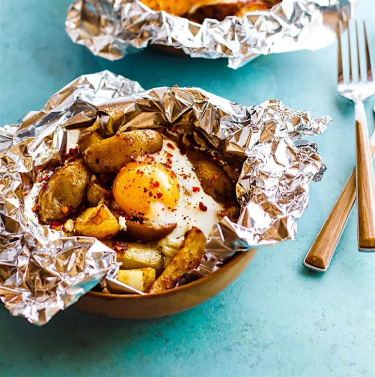 Indian Spiced Baked Potato Egg Foil Packets from Cotter Crunch