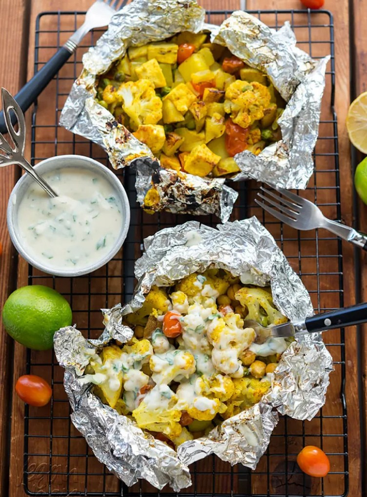 Curry Cauliflower Grill Packets With Yogurt Sauce from Vegan Yack Attack