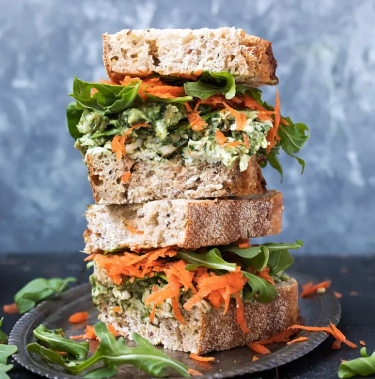 Pumpkin Seed and Avocado Pesto Chicken Salad Sandwiches from Ambitious Kitchen