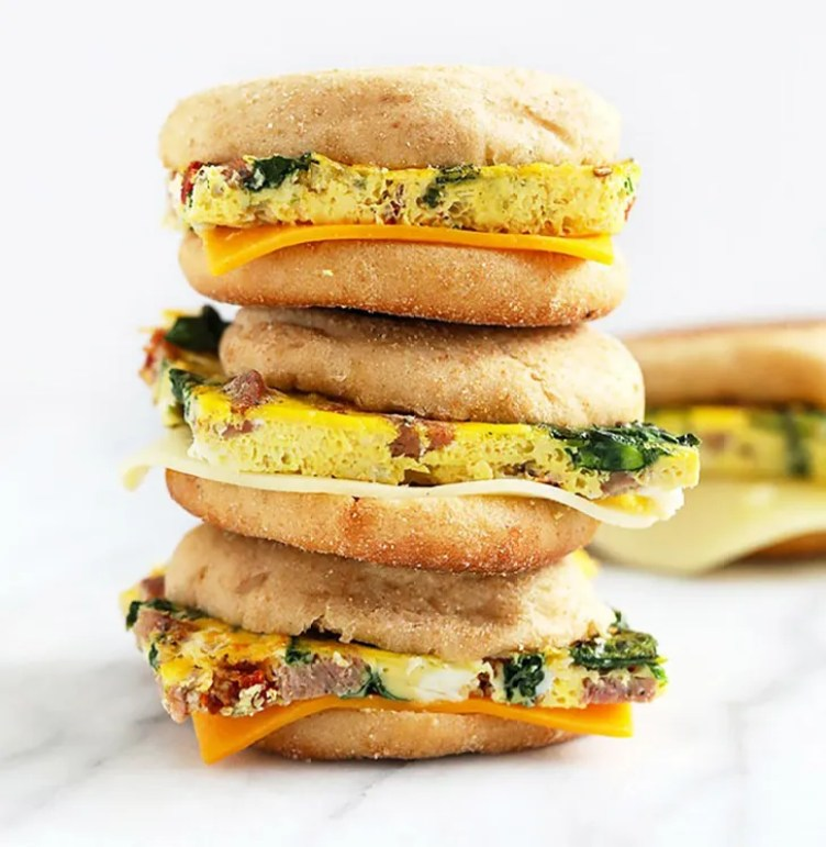 Sausage, Sun-Dried Tomatoes, and Spinach Breakfast Sandwiches from Fit Foodie Finds