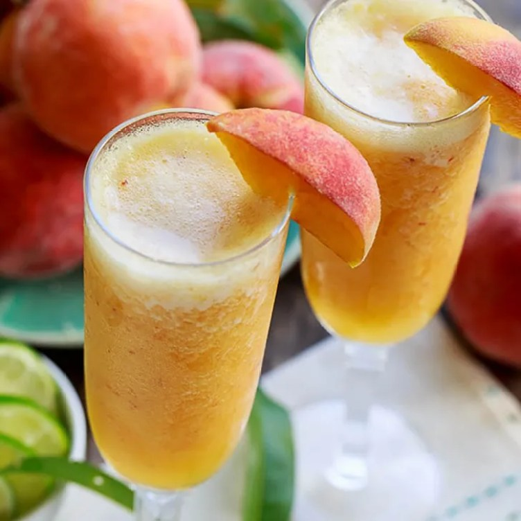 Frozen Peach Bellini Mocktail from Spicy Southern Kitchen