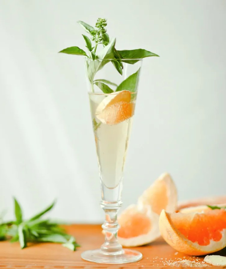 Ginger Basil Grapefruit Spritzer from 1-2 Cooking