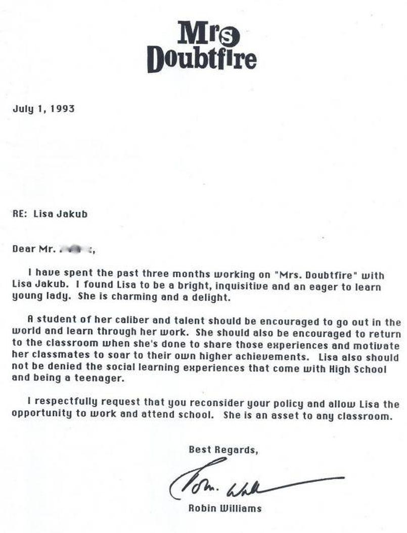 Madame Doubtfire Quand Robin Williams écrit Une Lettre à