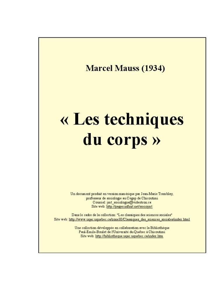Les Techniques du corps - Marcel Mauss (1935)