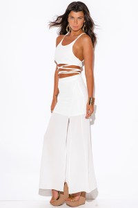 Shop wholesale womens all white slit evening maxi two ...