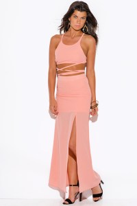 Shop peach pink high slit crepe evening cocktail party ...