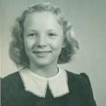 Kerstin Hedström, foto från mars 1946 - alltså är hon 12 år här.