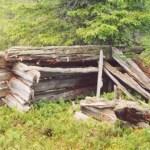 """Njalla Slättberg. Terräng: 334 m ö h. Svag norrsluttning, tallhed med inslag av gran. Beskrivning: Förfallen, nedrasad timrad njalla, golv ej synligt. Har stått på fyra rotstolpar, """"fågelfötter"""". Lämningar av stolpar och bjälkar vittnade 1949 om den traditionella konstruktionen: 5 timmerstockar i den högre väggen, 5 i den motsatt lägre. Klovor som tak, dörröppningen rektangulär med gåtar. Mått: plan yttre 220 x 245 cm, inre 190 x 215 cm; höjd 210 – 245 cm, varav stolphöjden ca 90 cm. Foto: Camilla Labbba"""