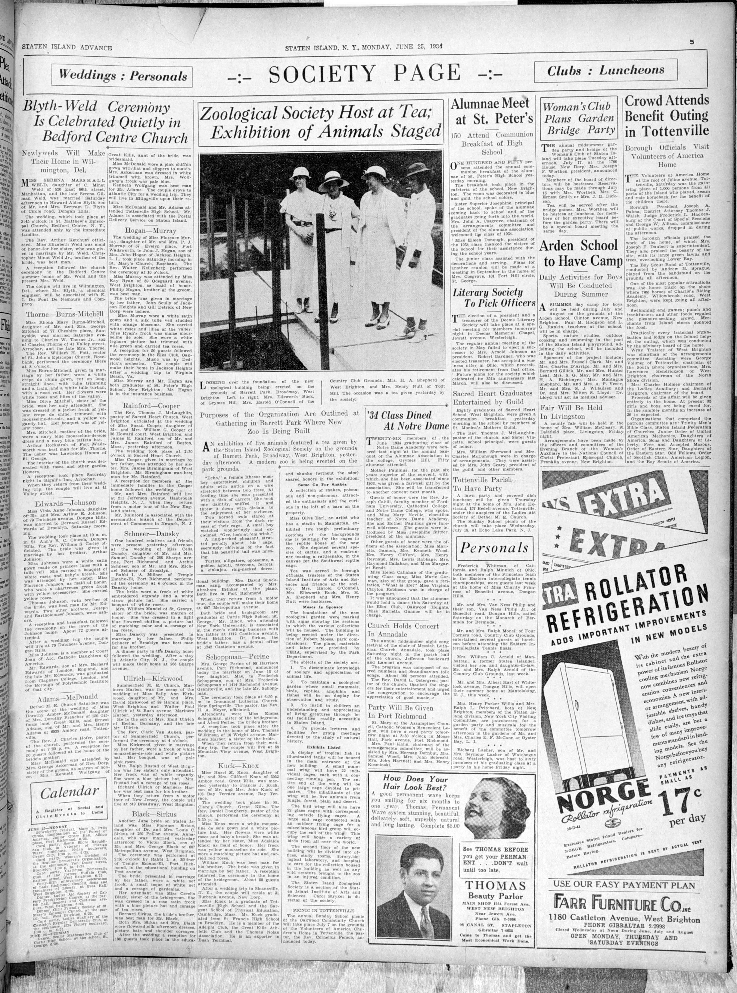 Advance historic page from June 25, 1934: Arden School to