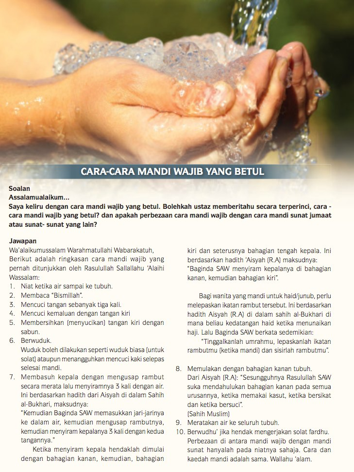 Cara Mandi Wajib Haid Yang Benar : mandi, wajib, benar, Mandi, Wajib, Betul, JAKIM., Sangat, Mudah!
