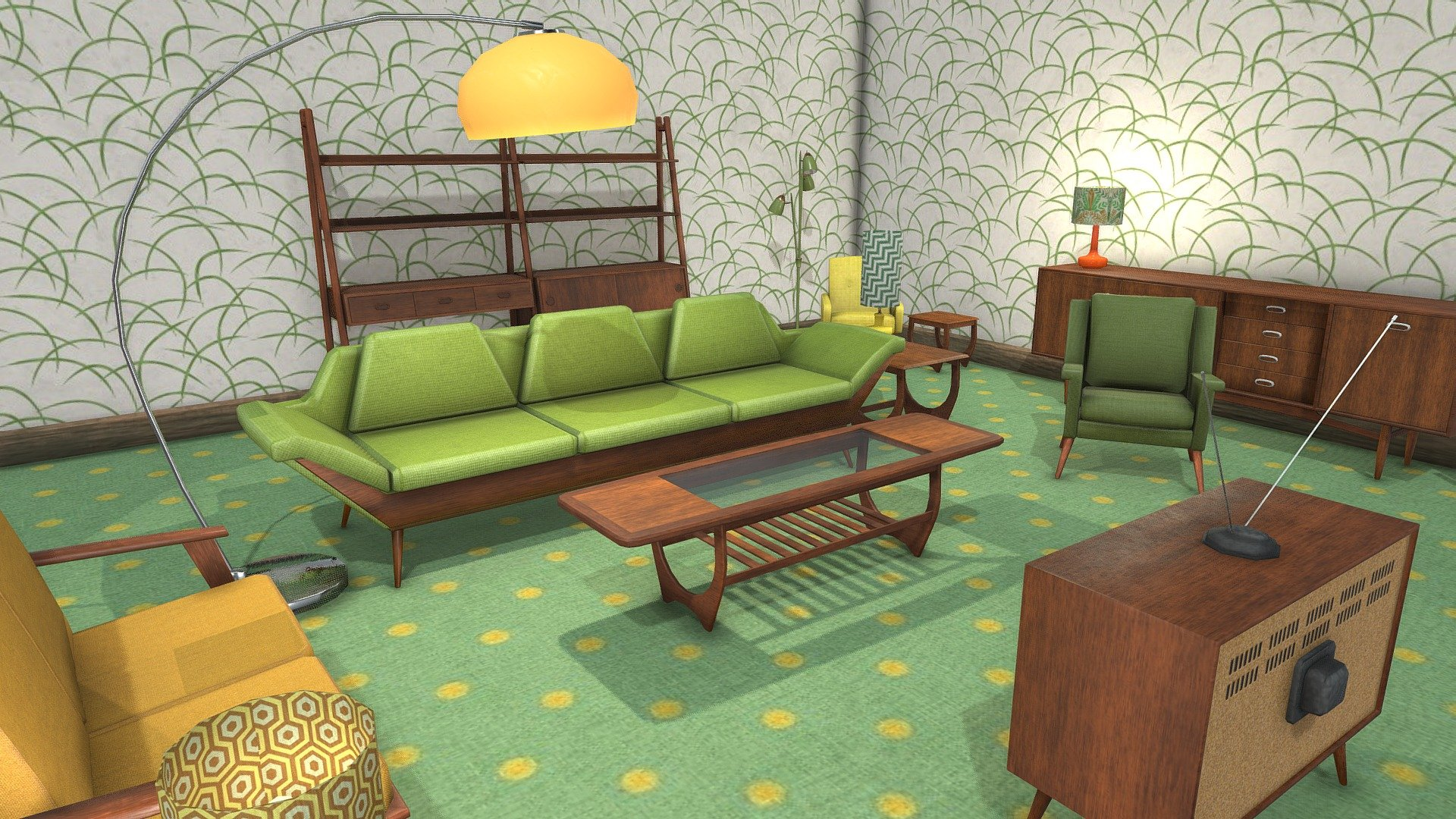 Retro Living Room Low Poly Furniture Pack Buy