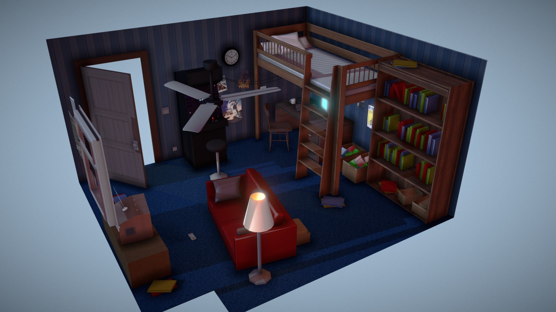 Some games are timeless for a reason. Gaming Room - Download Free 3D model by Vincent (@vboichut ...