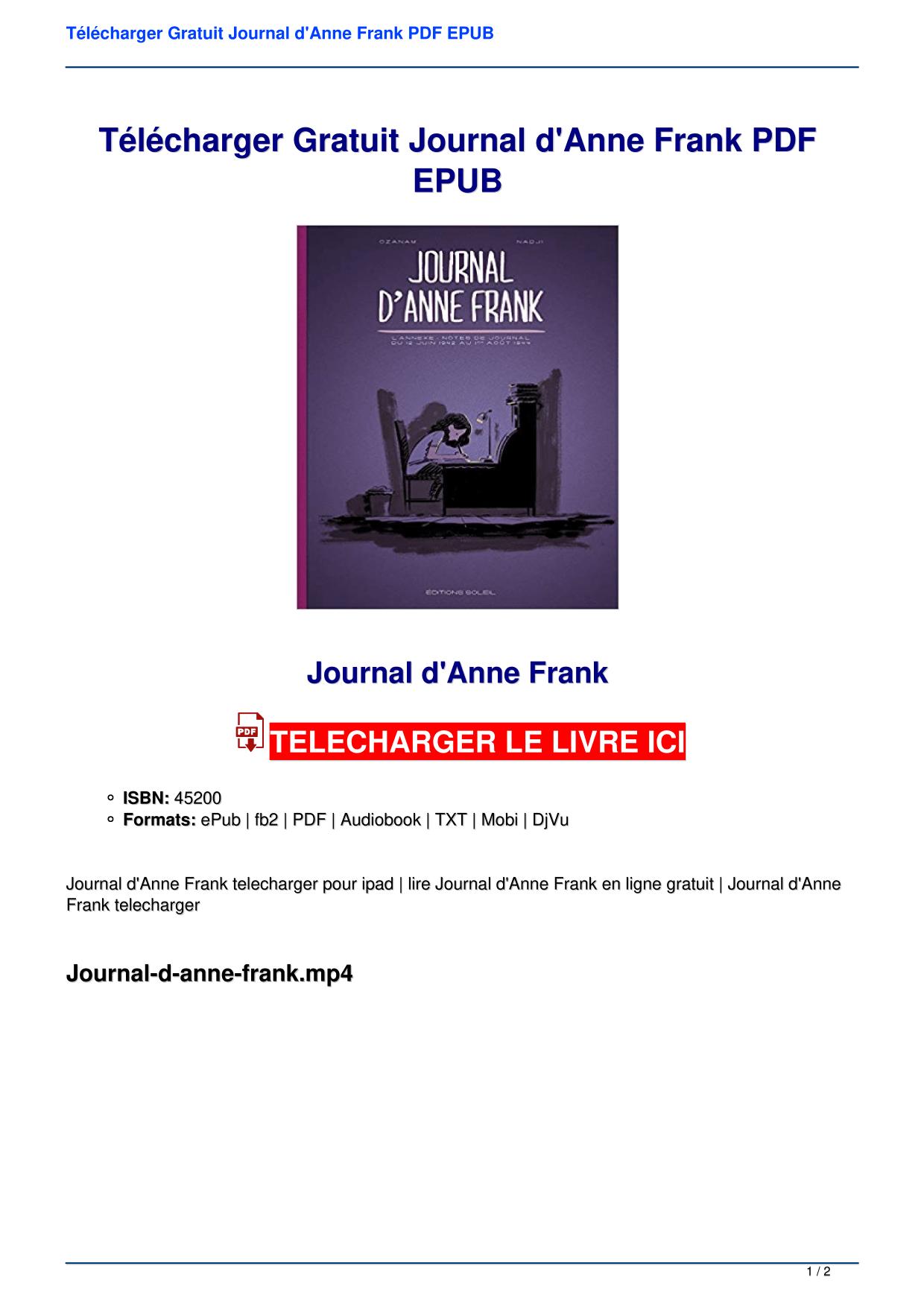 Le Journal D Anne Frank Epub : journal, frank, Télécharger, Gratuit, Journal, D'Anne, Frank