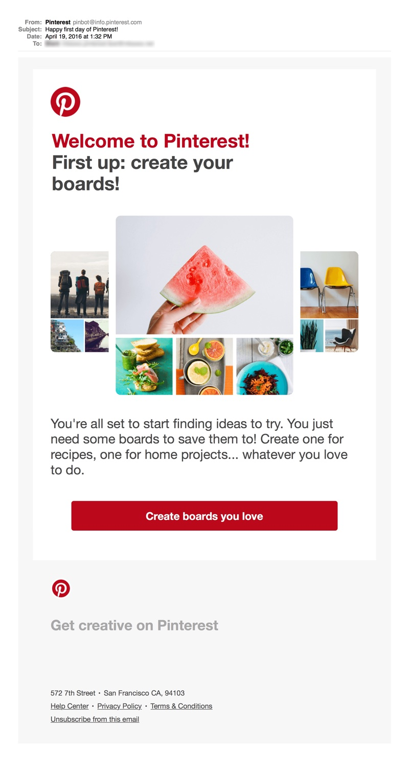 Onboarding Email: Pinterest First Step
