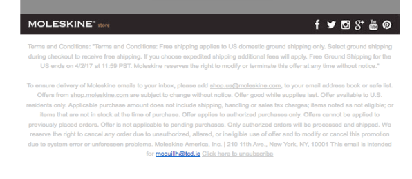 moleskine email unsubscribe list
