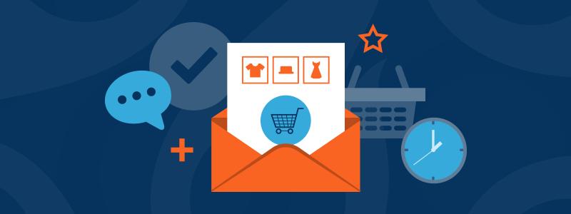triggered emails ecommerce navy blue background orange envelope 800x300