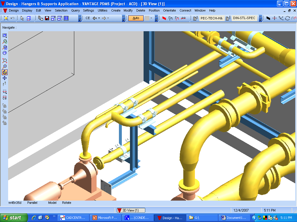 hight resolution of large diameter piping with secondary support design layout