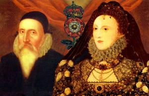 John Dee och Elizabeth I. Bilden är ett montage från två olika målningar.