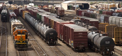 small resolution of black tank cars used to transport crude oil from north dakota are parked among other rail