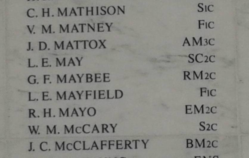 George Frederick Maybee was a radioman, second class, aboard the USS Arizona when the battleship was bombed on Dec. 7, 1941, at Pearl Habor. Maybee, whose name is etched in a marble wall at the Arizona memorial, had been a friend of Ray Daves, a Pearl Harbor survivor from Deer Park who died in 2011. (Courtesy Cindy Hval)