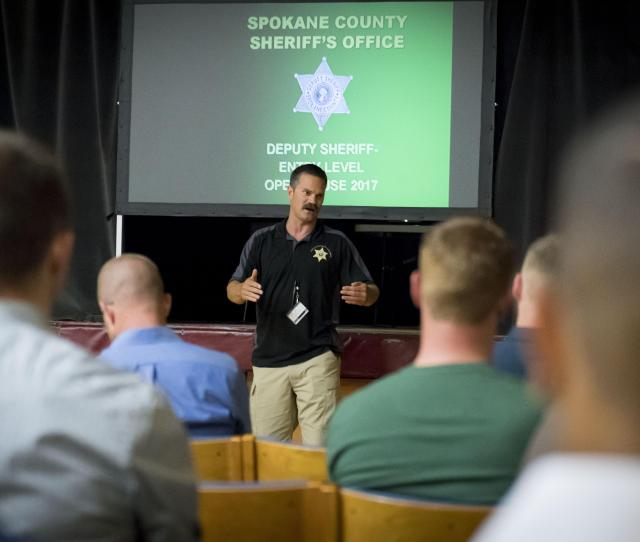 Spokane County Sheriff Deputy Sgt Brett Gores Talks To Potential Recruits About The Hiring Process