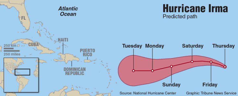 medium resolution of map of hurricane irma davis tribune news service