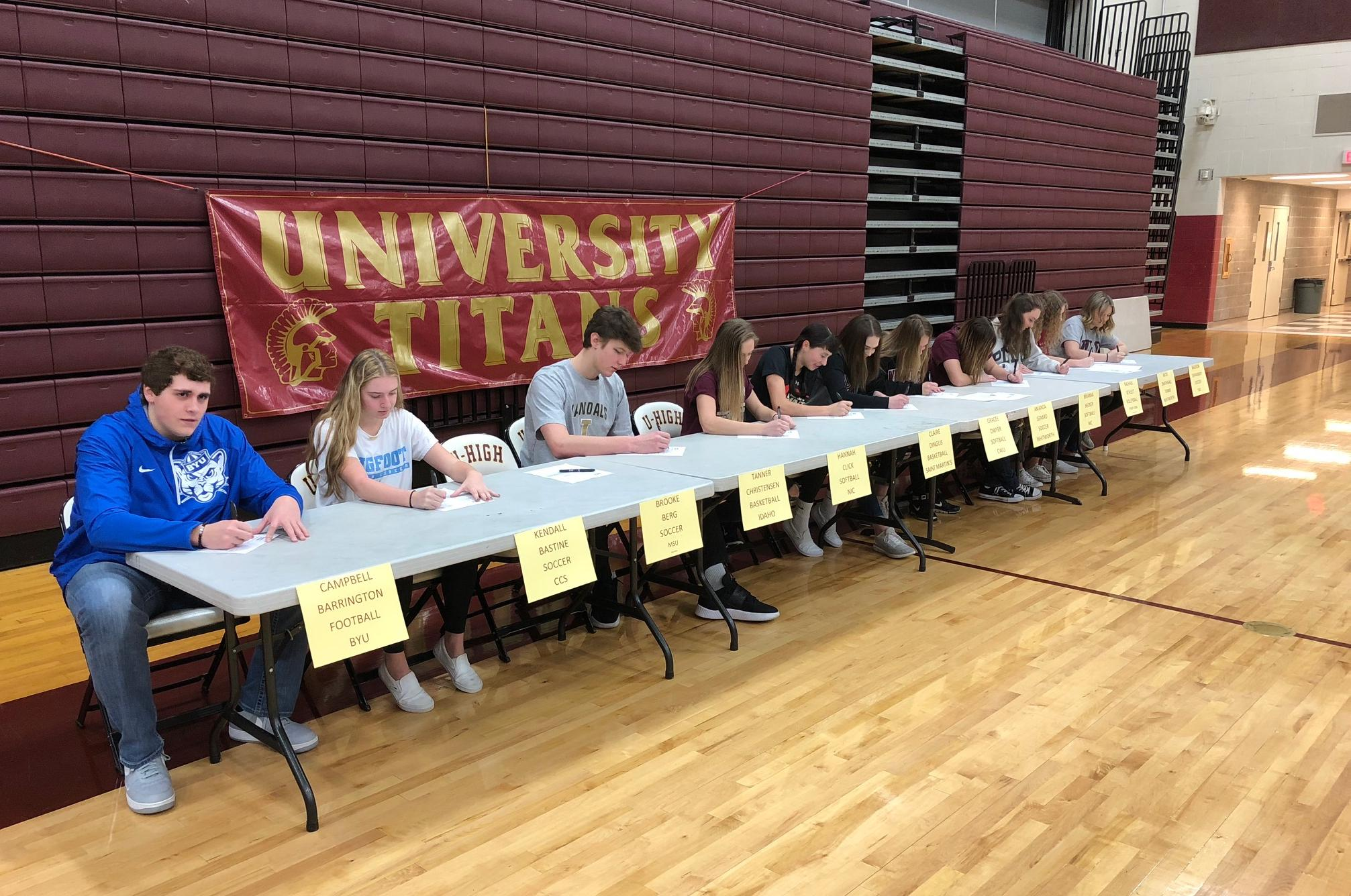 Campbell Barrington, Left, Joins Other University Hs Athletes Signing Their  National Letters Of Intent