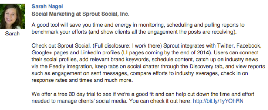 B2B Social Selling Example