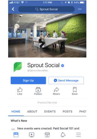sprout social facebook mobile version