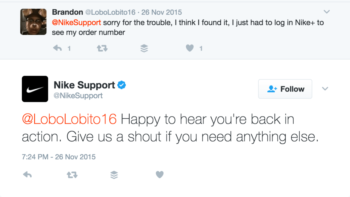 Example of customer service from Nike's Twitter account