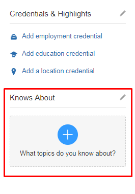 Quora credentials and highlights field