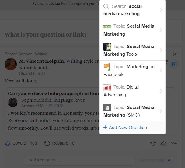 """Quora suggested topics related to """"social media marketing"""""""