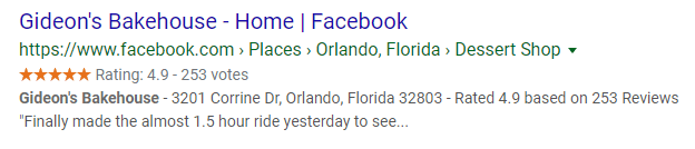 facebook business page review result on google