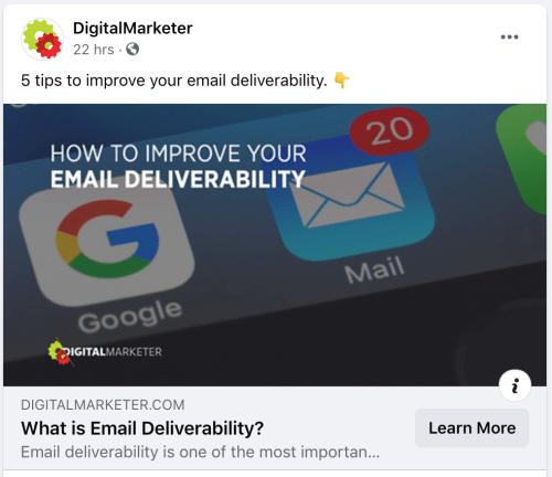 facebook post ideas - digitalmarketer sharing blog posts