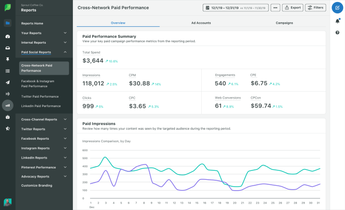 Facebook analytics tools cross network performance report in Sprout