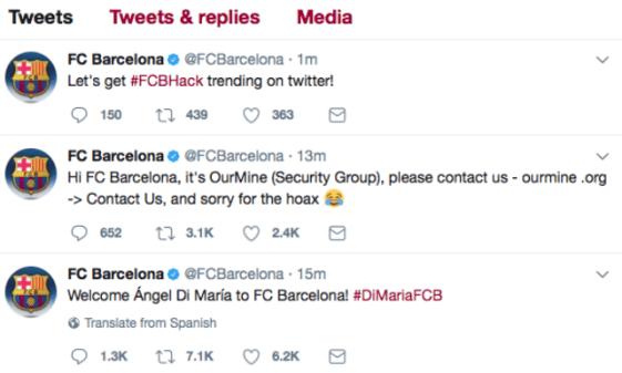 FC Barcelona hacked Twitter account