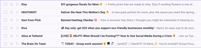Examples of emojis in email subject lines.
