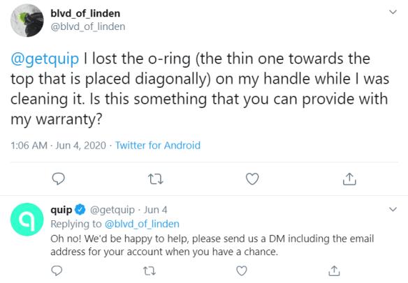 getquip twitter response