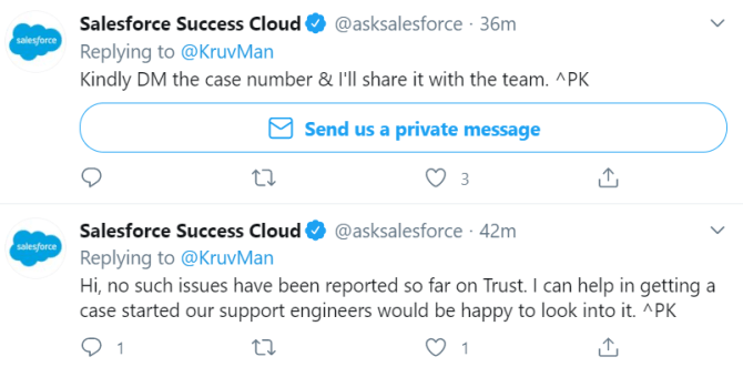 salesforce twitter support example