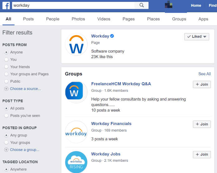 Facebook search result showing verified page for Workday