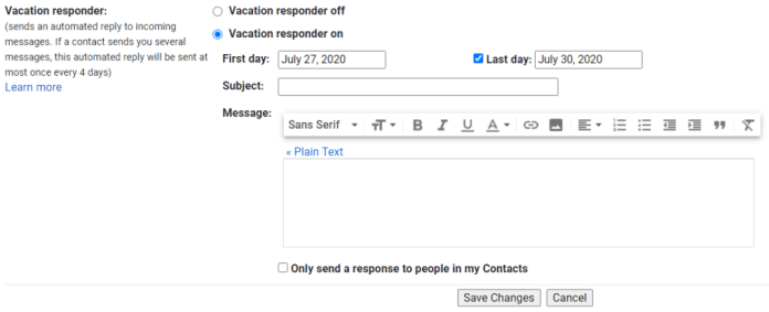 setting up an autoresponder in gmail