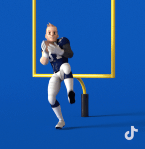 AR filter with NFL player throwing ball