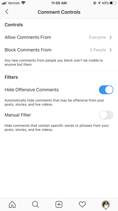 instagram live - you can control or hide comments that appear on your livestream