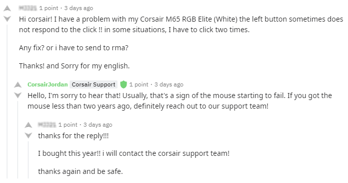 corsair customer support example