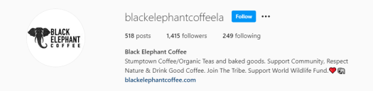Instagram bio for Black Elephant Coffee showcasing the brand's products and values