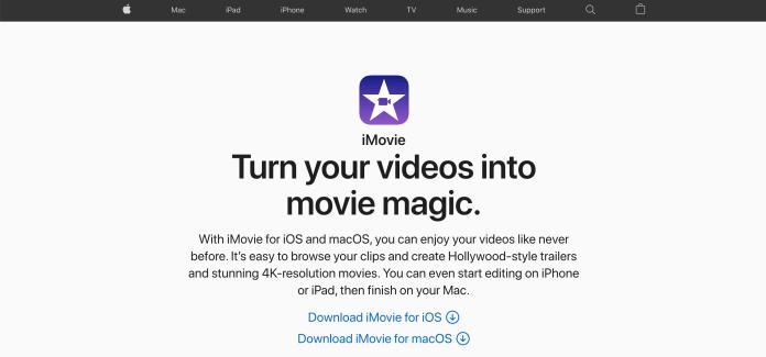 A screenshot of video editing tool iMovie's website.